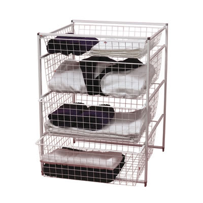 elfa® Basket Tower - 1 x Shallow Basket/3 x Medium Baskets - 740 x 550 x 540mm - White