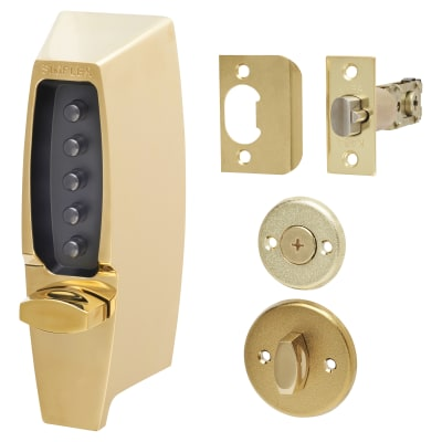 Kaba Unican Light Duty Mechanical Code Lock - Polished Brass
