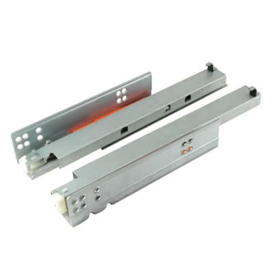 Motion Base Mounted Drawer Runner - Push-To-Open - Double Extension - 400mm - Zinc