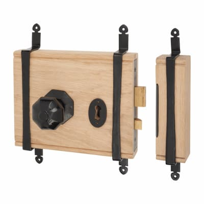 Olde Forge Oak Box Door Lock - Antique Black Iron Knob