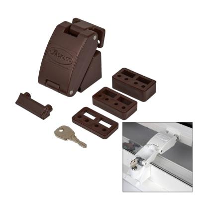 Jackloc Folding Key - Lockable Window Restrictor - Brown