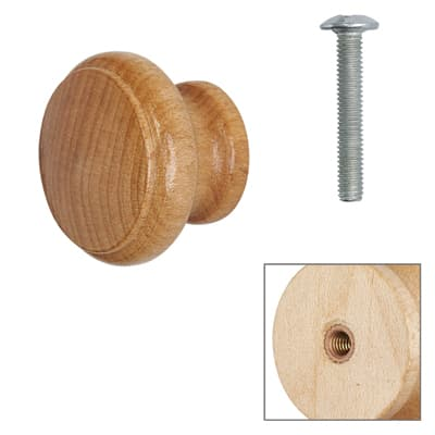 Cabinet Knob - Maple Lacquered - with Bolt & Insert - 25mm - Pack of 5