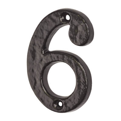 Colonial 76mm Numeral - 6 - Metalized Antique Black Iron