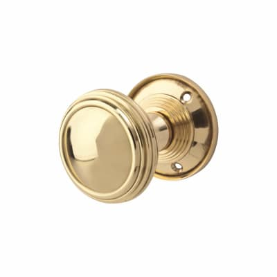 Lined Mortice Knob - Polished Brass