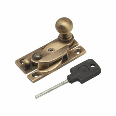 Sash Hook Fastener with Knob - Narrow Keep - 63mm - Antique Brass