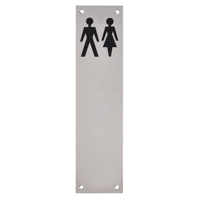 Finger Plate - Unisex Toilet Sign - 300 x 75mm - Polished Stainless Steel