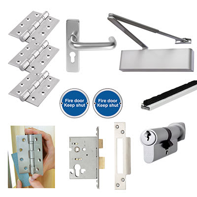 Heavy Duty Lever on Backplate Fire Door Kit - Aluminium