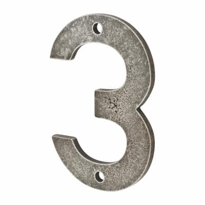 Finesse Numeral Number - 3 - Pewter