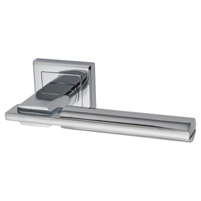 Morello Alpha Lever Door Handles on Rose - Polished Chrome