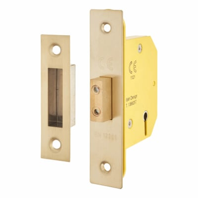 Altro 3 Lever Deadlock - 65mm Case - 44mm Backset - PVD Brass