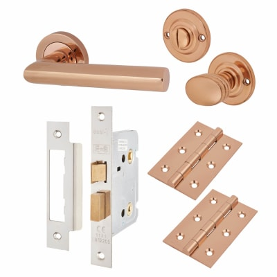 Touchpoint Emily Lever Door Handle - Bathroom Lock Kit - Polished Copper
