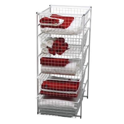 elfa® Basket Tower - 5 x Medium Baskets - 1040 x 450 x 540mm - White