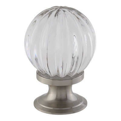 Aglio Floral Glass Cabinet Knob - 30mm - Satin Nickel