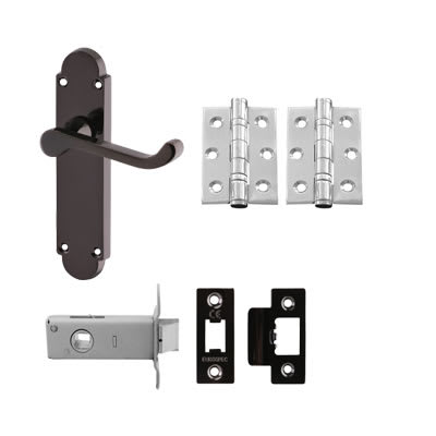 Aglio Victorian Summer Handle Door Kit - Latch Set - Black Nickel