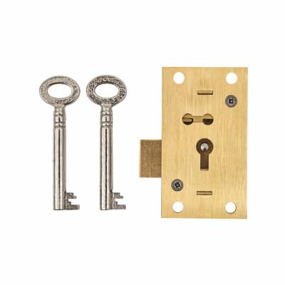 4 Lever Straight Cupboard Lock - 63 x 35mm - Keyed to Differ