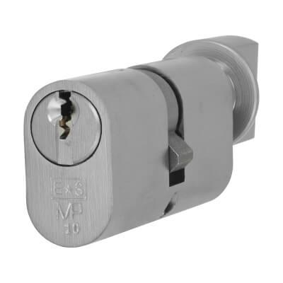 Eurospec MP10 - Oval Cylinder and Turn - 35[k] + 35mm - Satin Chrome  - Keyed Alike