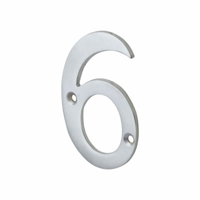 76mm Screw Fixed Numeral - 6 - Satin Chrome