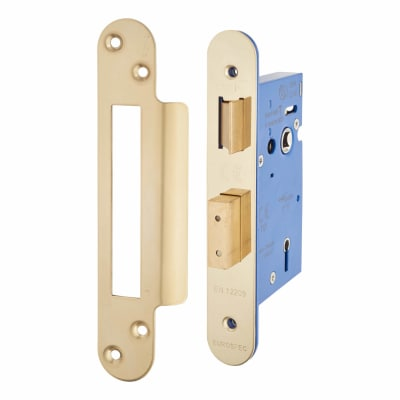 A-Spec Architectural 5 Lever Sashlock - 65mm Case - 44mm Backset - Radius - PVD Brass