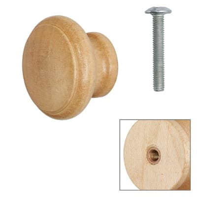 Cabinet Knob - Maple Lacquered - with Bolt & Insert - 30mm - Pack of 5