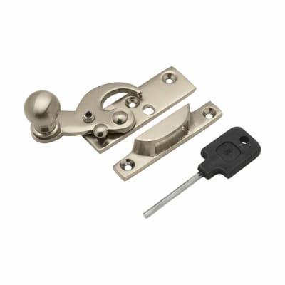 Sash Hook Fastener with Knob - Narrow Keep - 63mm - Satin Nickel