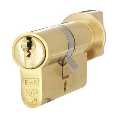 Eurospec MP10 - Euro Cylinder and Turn - 32[k] + 32mm - Polished Brass  - Keyed Alike