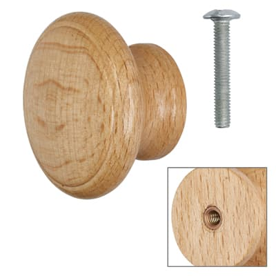 Cabinet Knob - Beech Lacquered - with Bolt & Insert - 50mm - Pack of 5