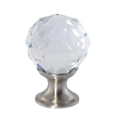 Aglio Cut Glass Cabinet Knob - 25mm - Satin Nickel