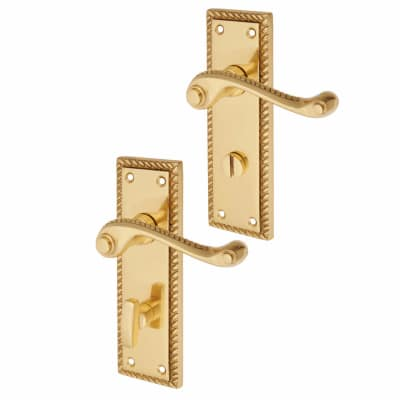 Aglio Georgian Door Handle - Bathroom Set - Polished Brass