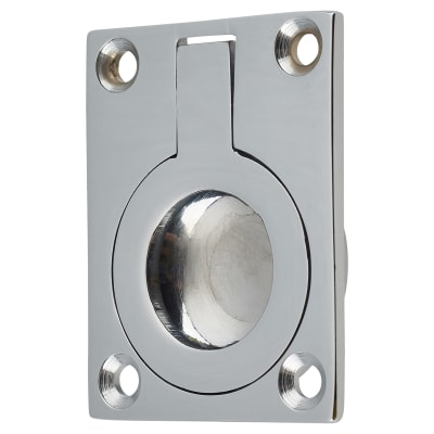 Rectangular Flush Ring Pull - 50 x 38mm - Polished Chrome
