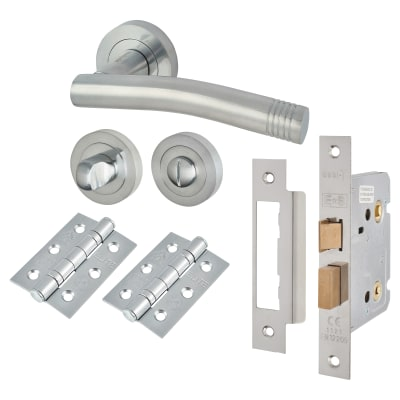 Touchpoint Camille Lever Door Handle - Bathroom Lock Kit - Satin Chrome