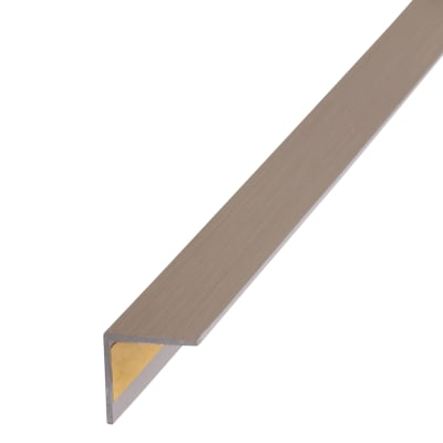 1000mm Self-Adhesive Plastic Angle Equal Sided - 20 x 20 x 1.5mm - Brushed Steel Effect