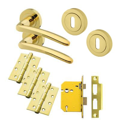 Touchpoint Eloise Lever Door Handle on Rose Kit - 5 Lever Sashlock - Polished Brass