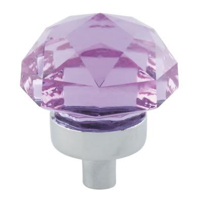 Aglio Floral Coloured Glass Cabinet Knob - 25mm - Polished Chrome/Purple
