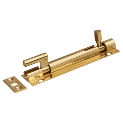Cranked Barrel Bolt - 100 x 25mm - Polished Brass