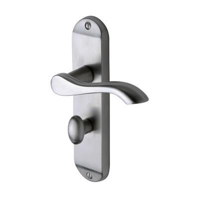 M Marcus Aurora Door Handle - Bathroom Set - Satin Chrome