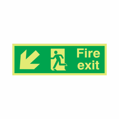 NITE-GLO Fire Exit Running Man - Arrow Down Left - 150 x 450mm