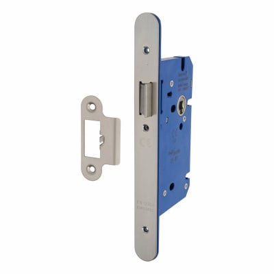 A-Spec Architectural DIN Latch - 85mm Case - 60mm Backset - Radius - Satin Stainless