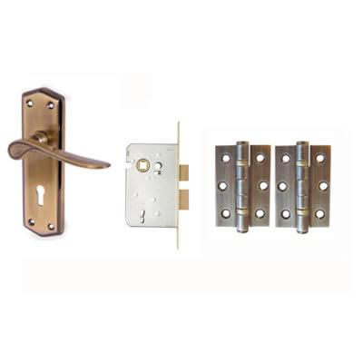 Aglio Rome Door Kit - Keyhole Lockset - Antique Brass