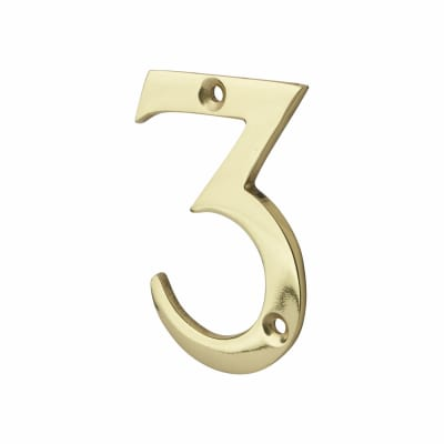 76mm Numeral - 3 - Polished Brass