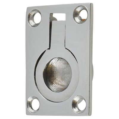 Rectangular Flush Ring Pull - 38 x 27mm - Polished Chrome