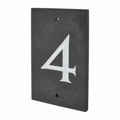 Slate Numeral - 4 - Polished Black