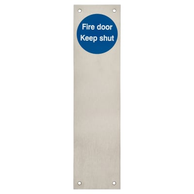 Finger Plate - Fire Door Keep Shut - 300 x 75mm - Satin Stainless Steel