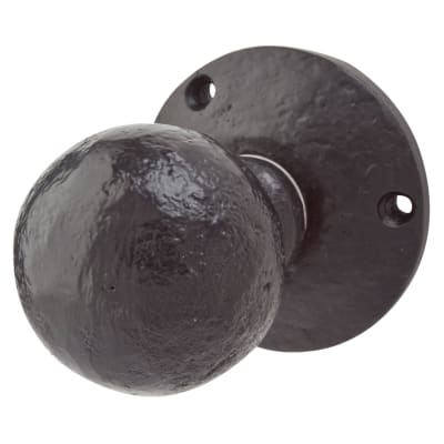 Elden Ball Mortice Door Knob - Antique Black Iron