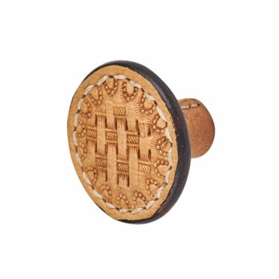 Round Leather Cabinet Knob - Mottled Effect - Natural