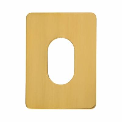 Jumbo Adhesive Fixing Escutcheon - 65.5 x 47.6mm - Oval - Polished Brass