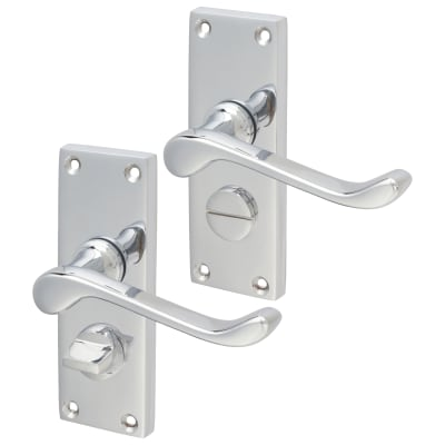 Aglio Victorian Scroll Door Handle - Privacy Set - Polished Chrome