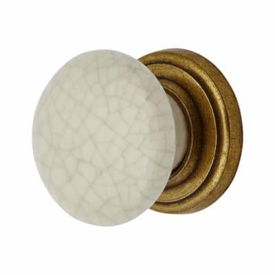 Elan Porcelain Cabinet Knob - Crackle Glaze - 35mm - Antique Brass