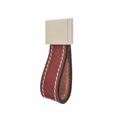 Leather Cabinet Knob - Loop Type - Burgundy