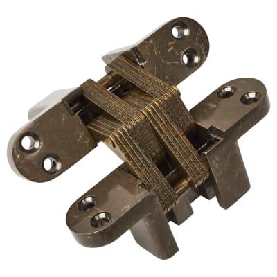 Tago Concealed Hinge - 117 x 29mm - Antique Brass - Pair