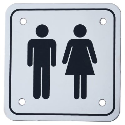 Unisex Square Toilet Door Sign - 100 x 100mm - Polished Stainless Steel